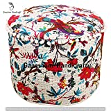 quilt gypsy - Indian Hippie Gypsy Bohemian Decor Living Room Vintage Kantha Quilt Seating Pouf Ottoman, Decorative Bohemian Ottoman, Cotton Round Pouf Foot Stool, Vintage Ottoman (Cover Only)
