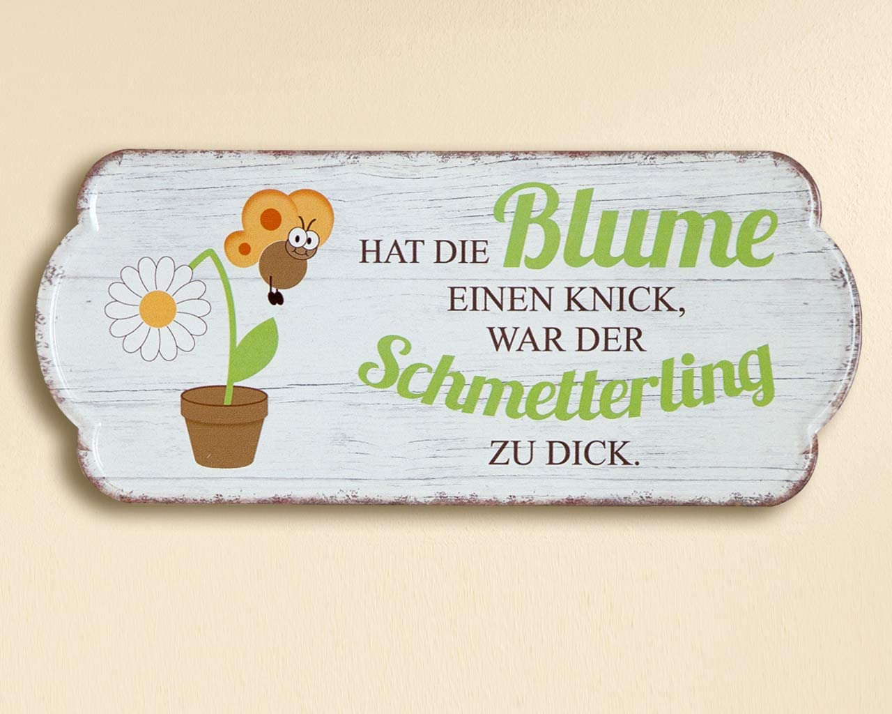 Dekoration Gartenliebhaber beige-Blumen Unbekannt Metall Schild Weisheit Garten mit Spruch
