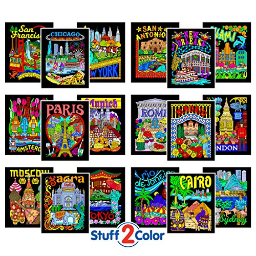 Super Pack of 18 Fuzzy Velvet 8x10 Inch Posters (Around the World - Color To Velvet Pictures
