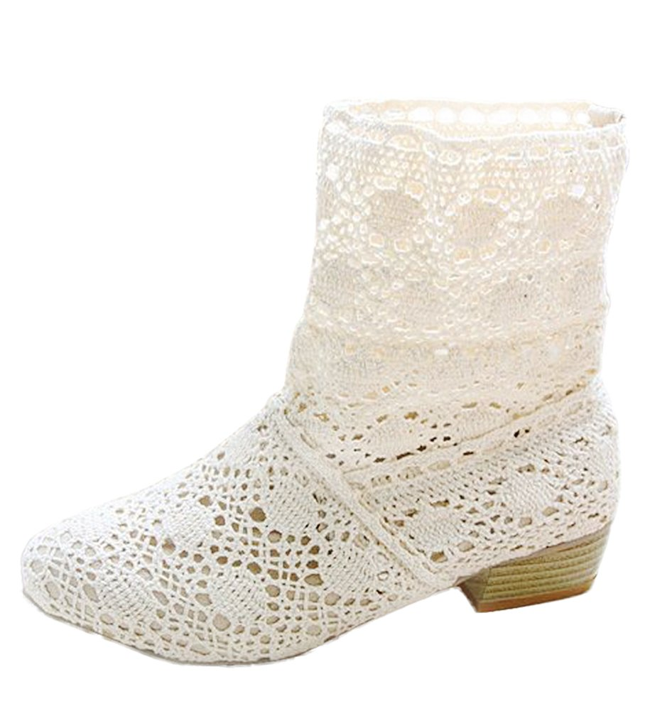 Maybest Women Summer Autumn Lace Hollow Boots Mid-Calf Summer Boots Crochet Hollow Out Chunky Heels Ankle Boots White 8 B (M) US