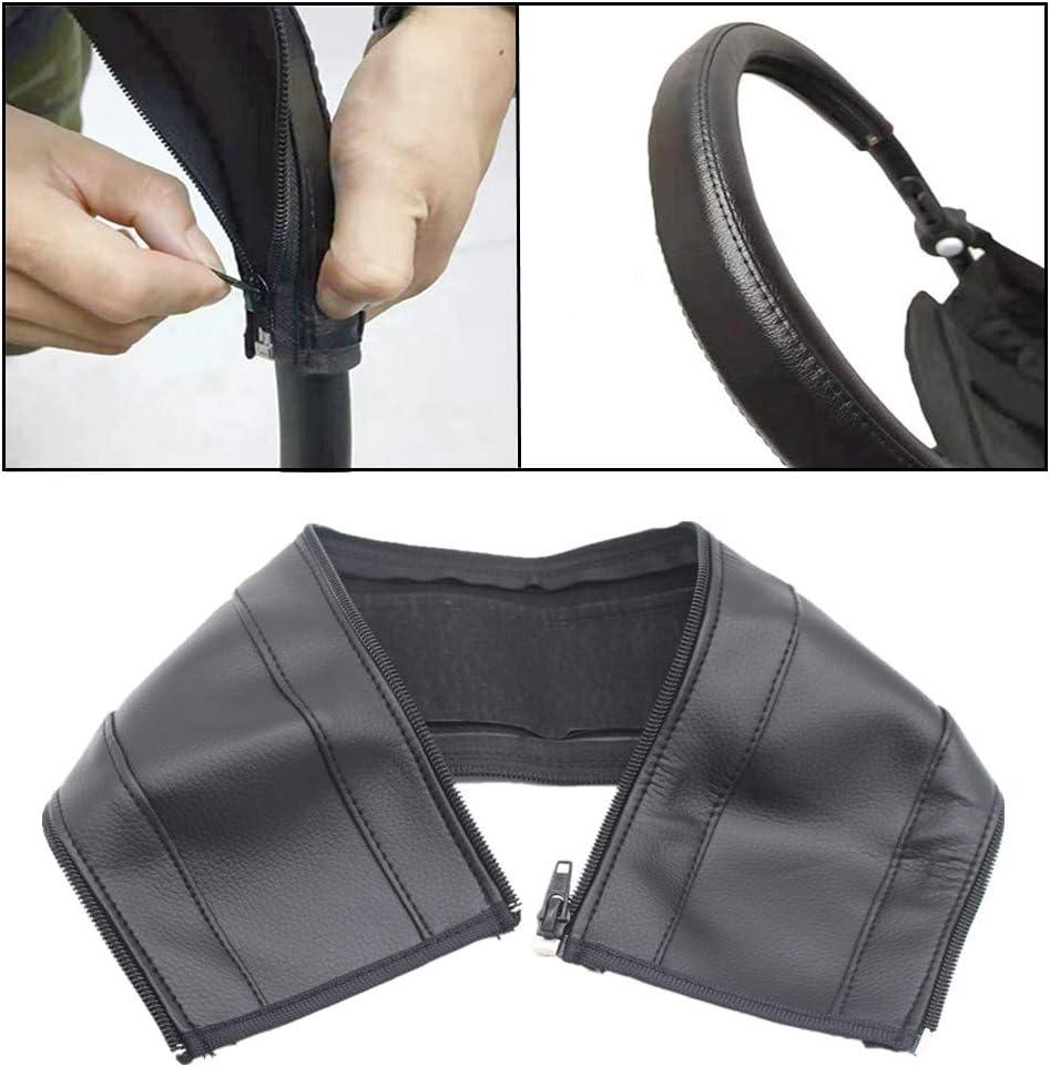 Protection anti-poussi/ère Lot de 2 housses de poign/ée de poussette avec fermeture /éclair pour poussette et poussette Housse en cuir