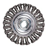 """Mercer 186511B Premium Knot Wire Wheel 4"""" x 1/2"""" x 5/8""""-11 For Angle Grinders"""