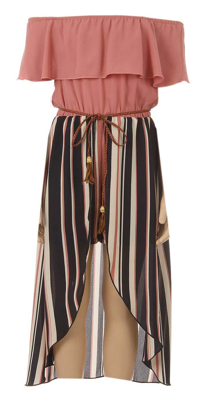Big Girls' Solid Stripe Ruffle Off Shoulder Birthday Party Romper Clothing USA Rose 12 (J21KS42)