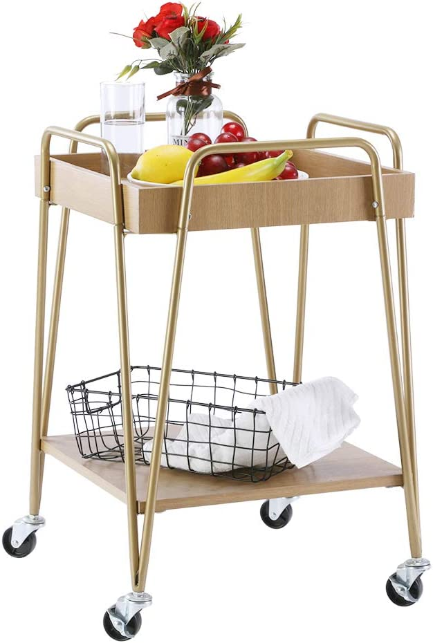 FIVEGIVEN Industrial Small Kitchen Cart Wood Metal Bar Cart on Wheels for Small Spaces Modern, Oak/Gold
