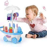 FnieYxiu Educational Toys, 17Pcs Pretend Role Play Simulated Lollipop Ice Cream Trolley Education Kids Toy