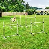 Festnight Adjustable Dog Agility Training Equipment Jump Bar with Carrying Bag, Set of 4 Poles