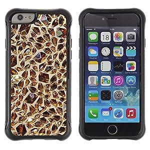WAWU Funda Carcasa Bumper con Absorci??e Impactos y Anti-Ara??s Espalda Slim Rugged Armor -- bling gem brown value gold -- Apple Iphone 6 PLUS 5.5