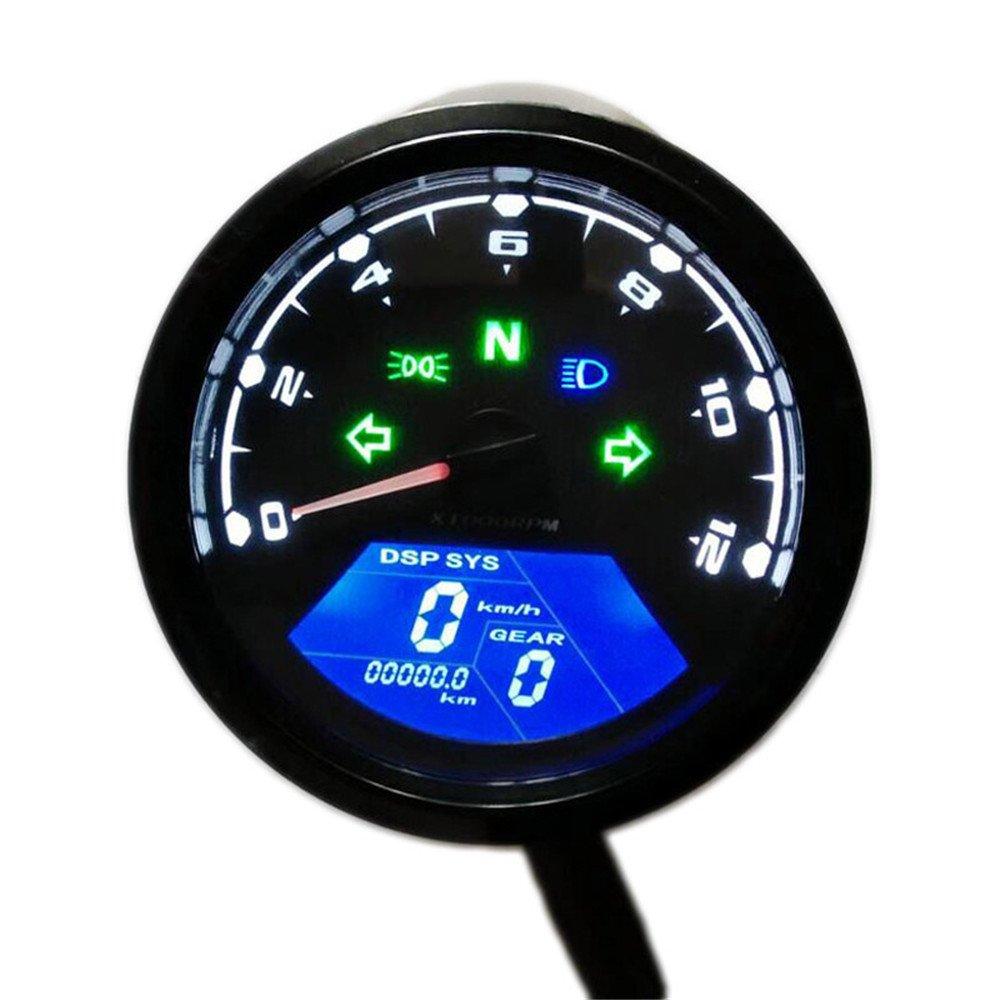 Motorcycle Speedometer Odometer,MeiLiio Waterproof Multi-functional Digital Instrument Motorcycle Speedometer Odometer Gauge Backlit Dual Speed meter with LED Indicator