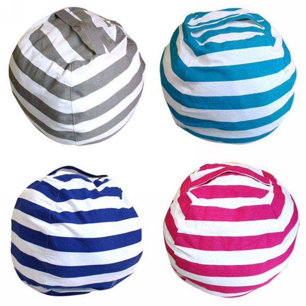 Genenic Stuffed Animal Bean Bag Chair Kids,24 inch Pouf Ottoman Toy Storage Sack Premium Cotton Canvas Organizer Box Kids Toys Household Supplies (Lake Blue)