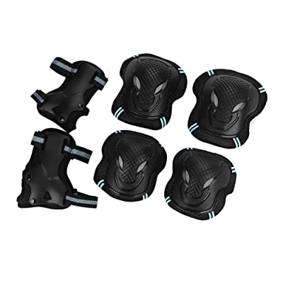 3 in 1 Skateboard Pad Set Including Knee Pad, Elbow Support and Wrist Brace, Adjustable Sports Protective Gear Guards for Skateboarding Inline Roller Skating: Beauty