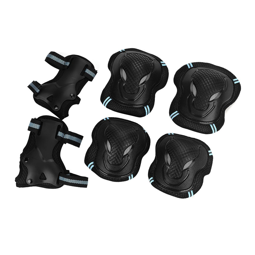 3 in 1 Skateboard Pad Set Including Knee Pad, Elbow Support and Wrist Brace, Adjustable Sports Protective Gear Guards for Skateboarding Inline Roller Skating by ITODA