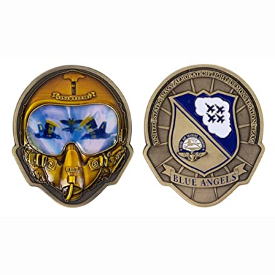 VG U.S. Navy Blue Angels Helmet Shaped Challenge Coin: Home & Kitchen