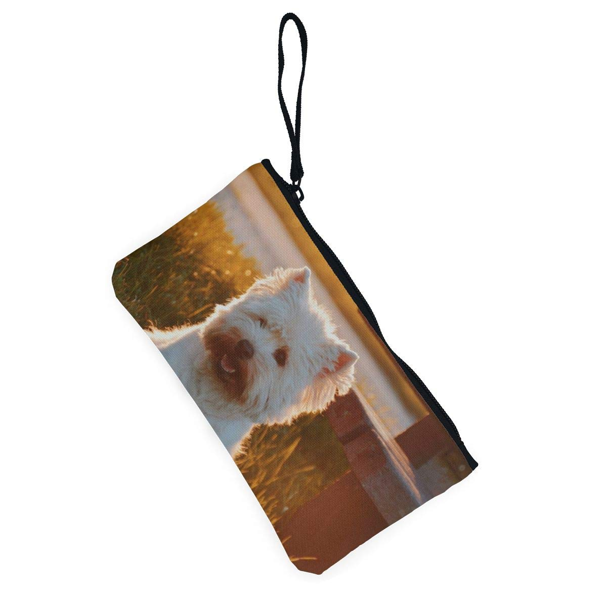 Yamini Dog Sitting On Grass Field Beside Bench at Golden Hour Cute Looking Coin Purse Small and Exquisite Going Out to Carry Purse