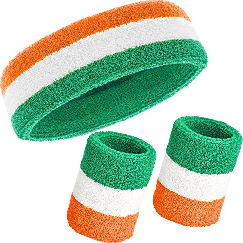 WILLBOND 3 Pieces Sweatbands Set, Includes Sports Headband and Wrist Sweatbands Cotton Striped Sweat Band for Athletic Men and Women (Orange, White and Green) (Cotton Headband Striped)