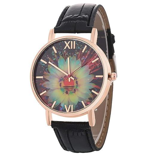Funnyrunstore 2018 Elemento Floral Reloj de Metal Moda Reloj de Mujer Correa de Cuero Patrón de