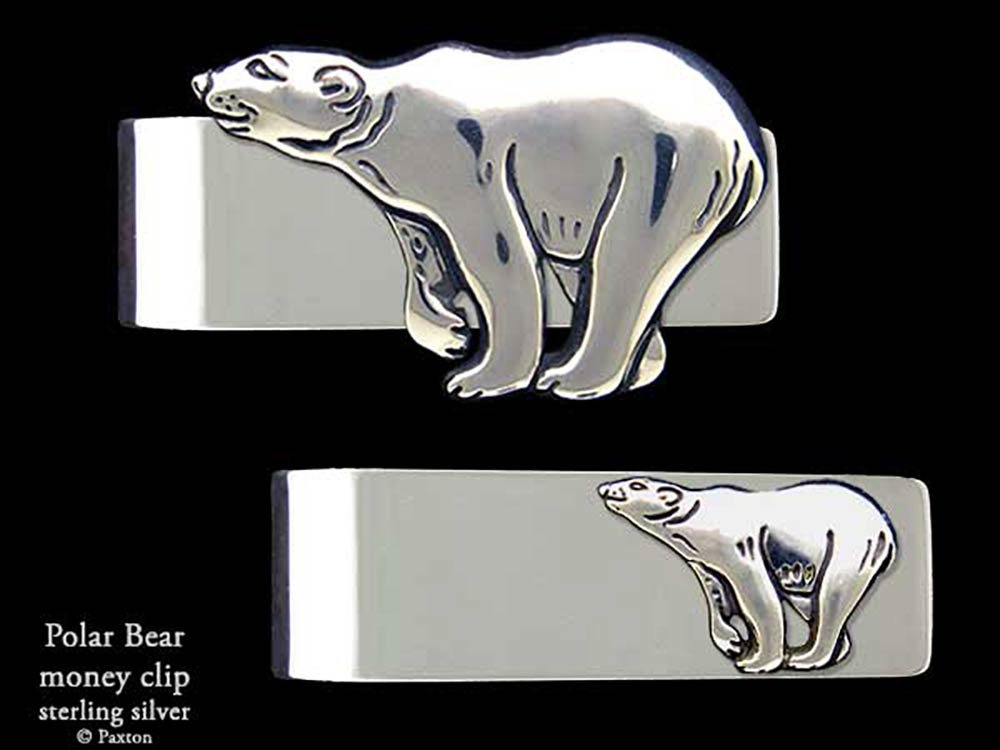Polar Bear Money Clip in Solid Sterling Silver Hand Carved, Cast & Fabricated by Paxton