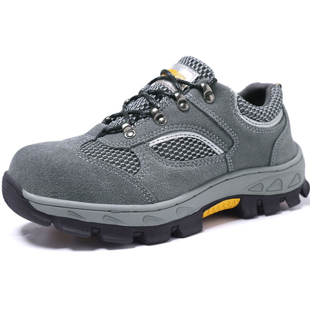 TeLe Xia Mens Breathable Air Mesh Steel Toe Safety Shoes Slip Resistance Light Weight Work Boots