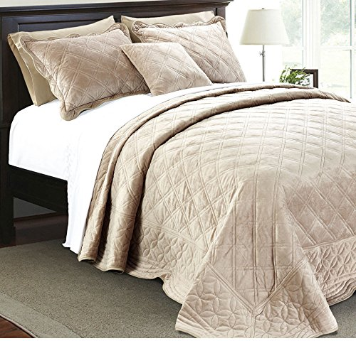 4 Piece Plush Taupe Queen Bedspread Set, Diamond Themed Bedding Stylish Vintage Antique Pretty Classic Elegant Shabby Chic Scalloped Geometric French Country Rich Soft Velvet, Polyester by AD