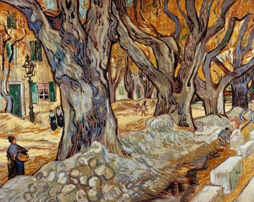 (Wallmonkeys Road Menders in a Lane with Heavy Plane Trees Vincent Van Gogh Wall Decal Peel and Stick Graphic WM13061 (30 in W x 24 in H))