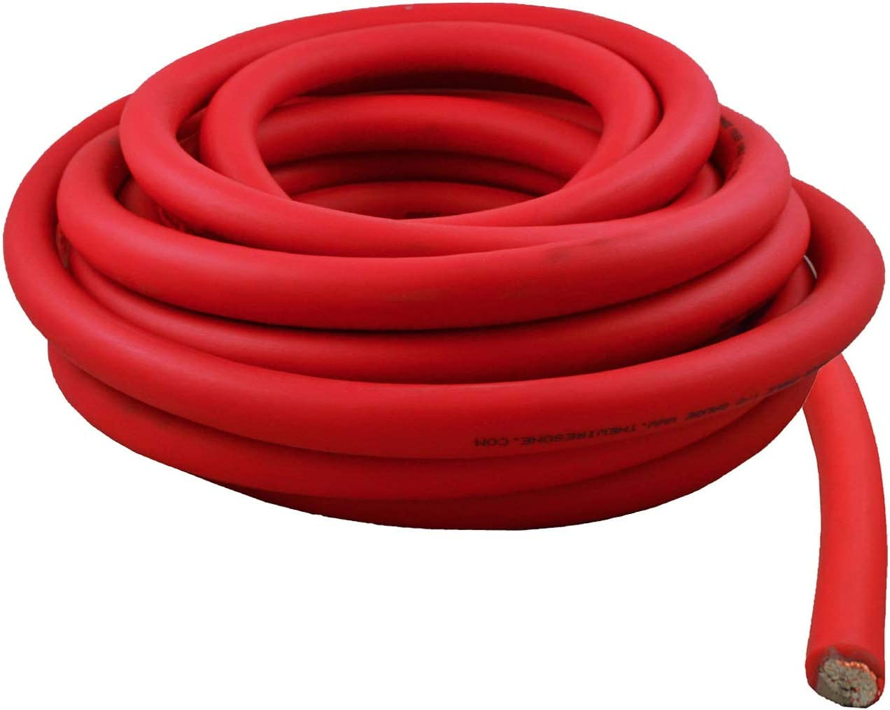 Red 0 Gauge 25 Feet Wire 1//0 AWG High Performance Flexible Amplifier Power Cable