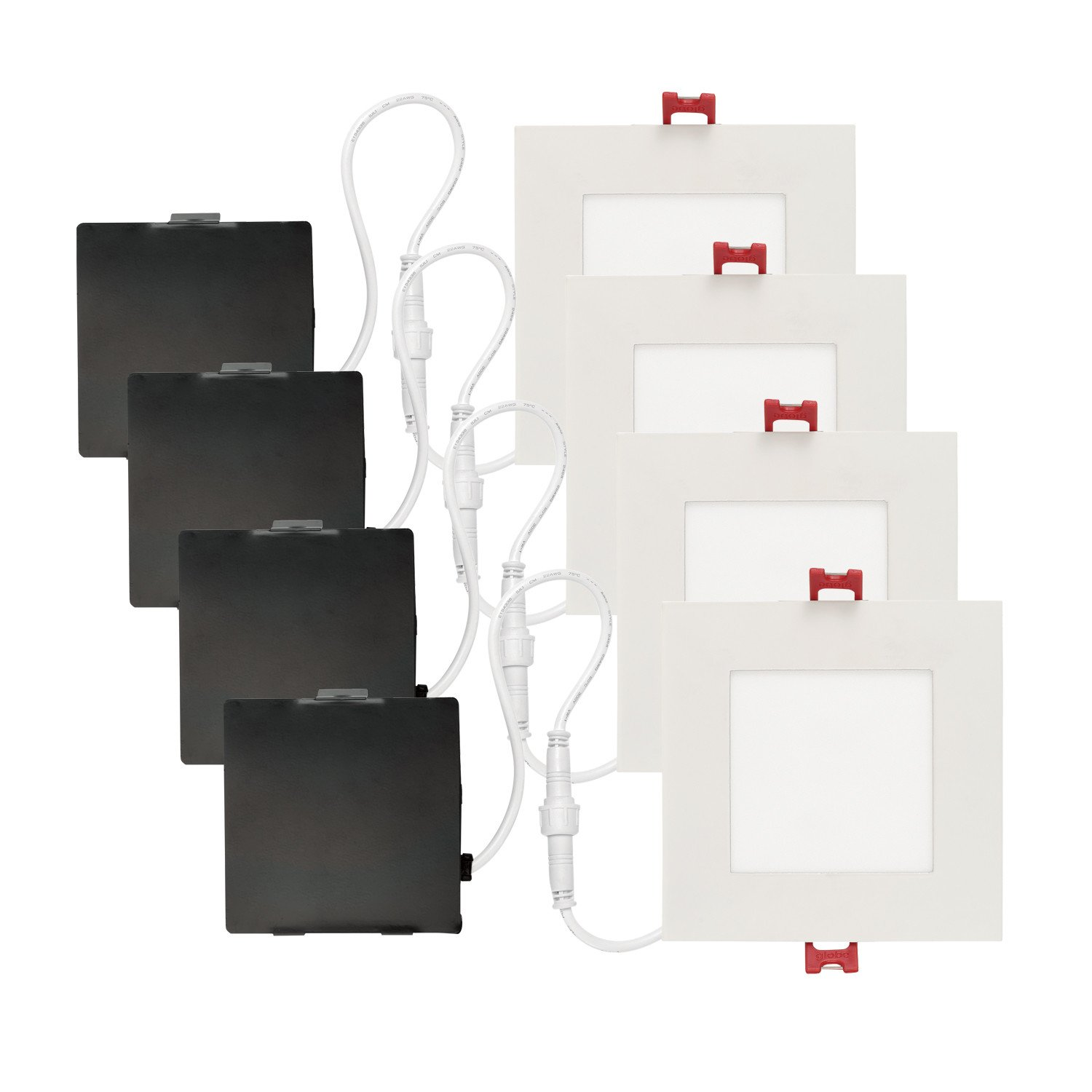 Globe Electric 91225 4 in. White Ultra Slim Integrated Led Recessed Lighting Kit, 4 Pack