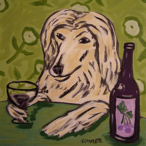 afghan hound at the Wine Bar Dog art tile coaster gift