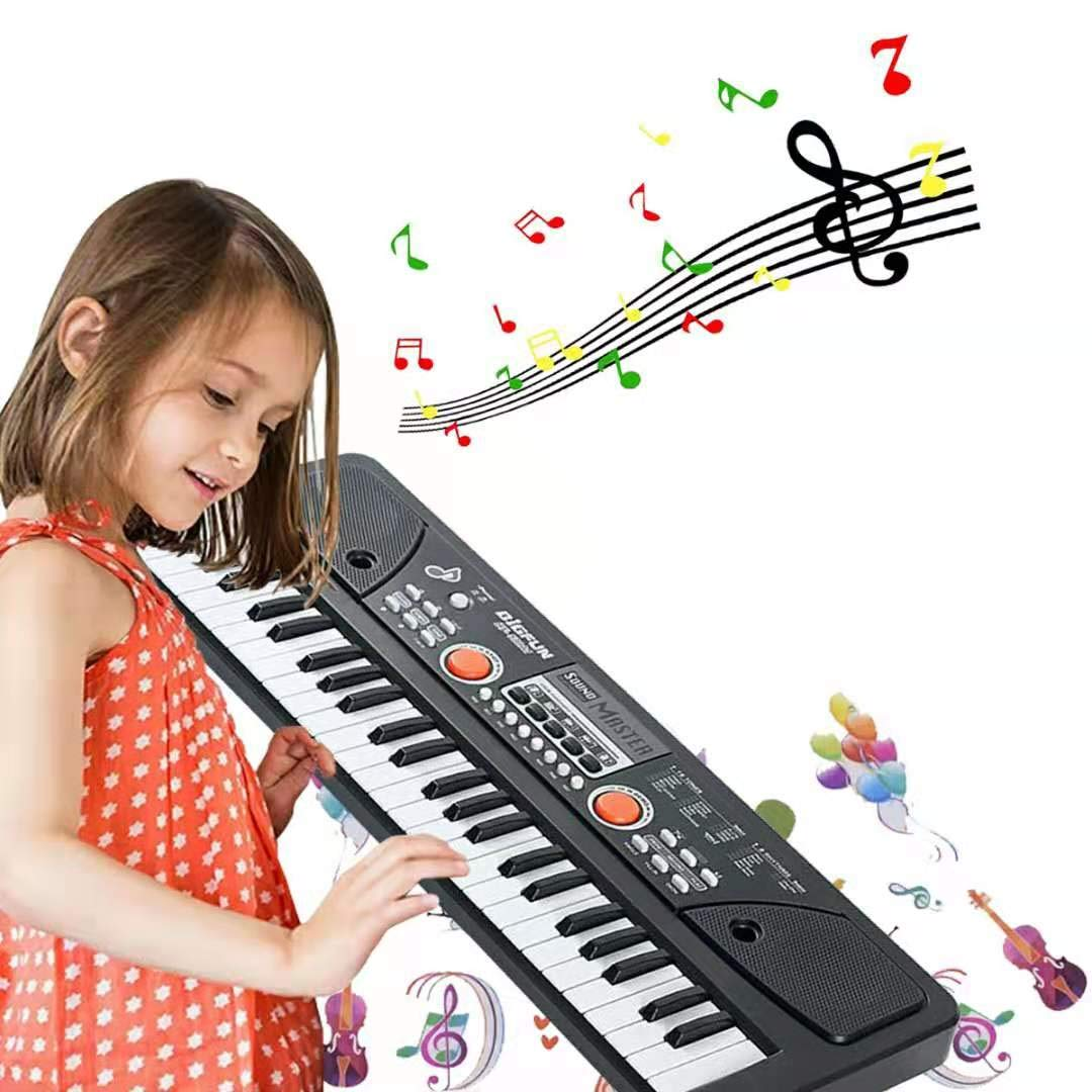 TianYaer Kids Piano Keyboard, 49 Keys Multi-Function Rechargeable Electronic Kids Piano, Portable Educational Toy Musical Electronic Karaoke with Microphone for Kids Girls Boys