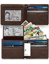2 ID Window RFID Wallet for Men, Executive Bifold Top Flip Wallet, Sleek and Stylish Gift for Men, Multi Card Extra Capacity Travel Wallet