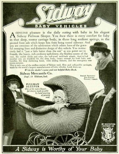 1922 Ad Vintage Sidway Baby Buggy Carriage Wicker Pullman Sleeper Elkhart IN - Original Print Ad (Antique Wicker Baby Buggy)