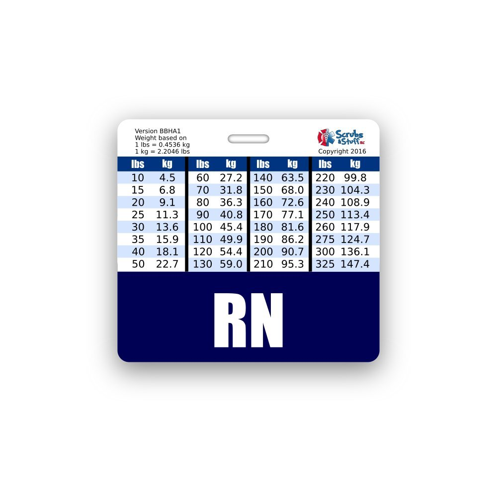 RN Badge Buddy Horizontal w/ Height & Weight Conversion Charts ...