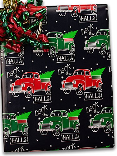 24'' X 100' #x6346 Deck The Halls - Gift Wrap Christmas by Paper Mart