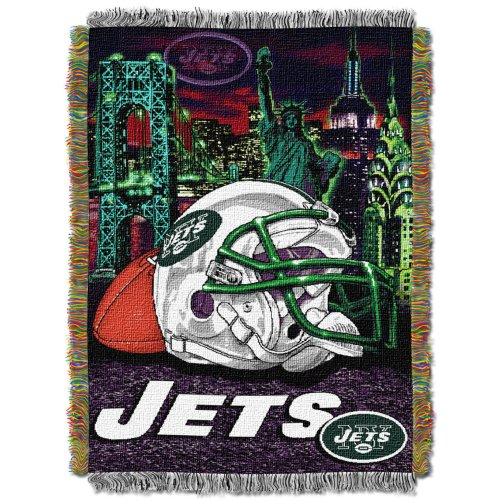(The Northwest Company Officially Licensed NFL New York Jets Home Field Advantage Woven Tapestry Throw Blanket, 48