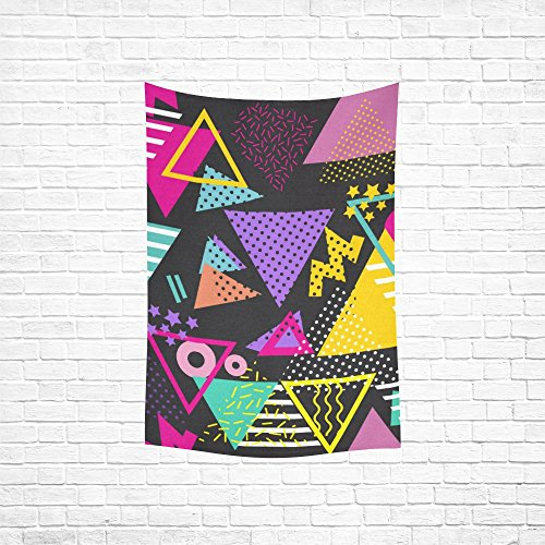 your-fantasia Custom Retro 80s Style Pop Art Triangles Wall Hanging Tapestry Home Decoration 60 x 80 inches  80s wall art   Amazing Wall Art Made From '80s Cassettes and Wire Nuts 61kizjEdl8L