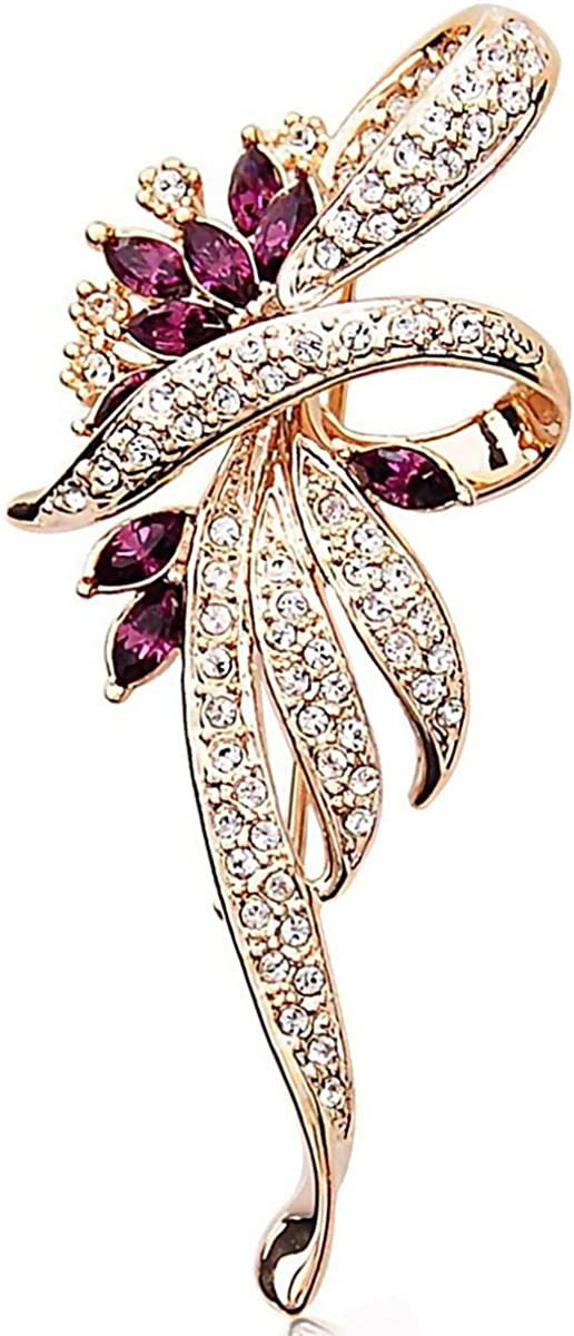 NEW GOLD LARGE FLOWER BROOCH PURPLE CRYSTAL DIAMANTE BRIDAL WEDDING VINTAGE PINS