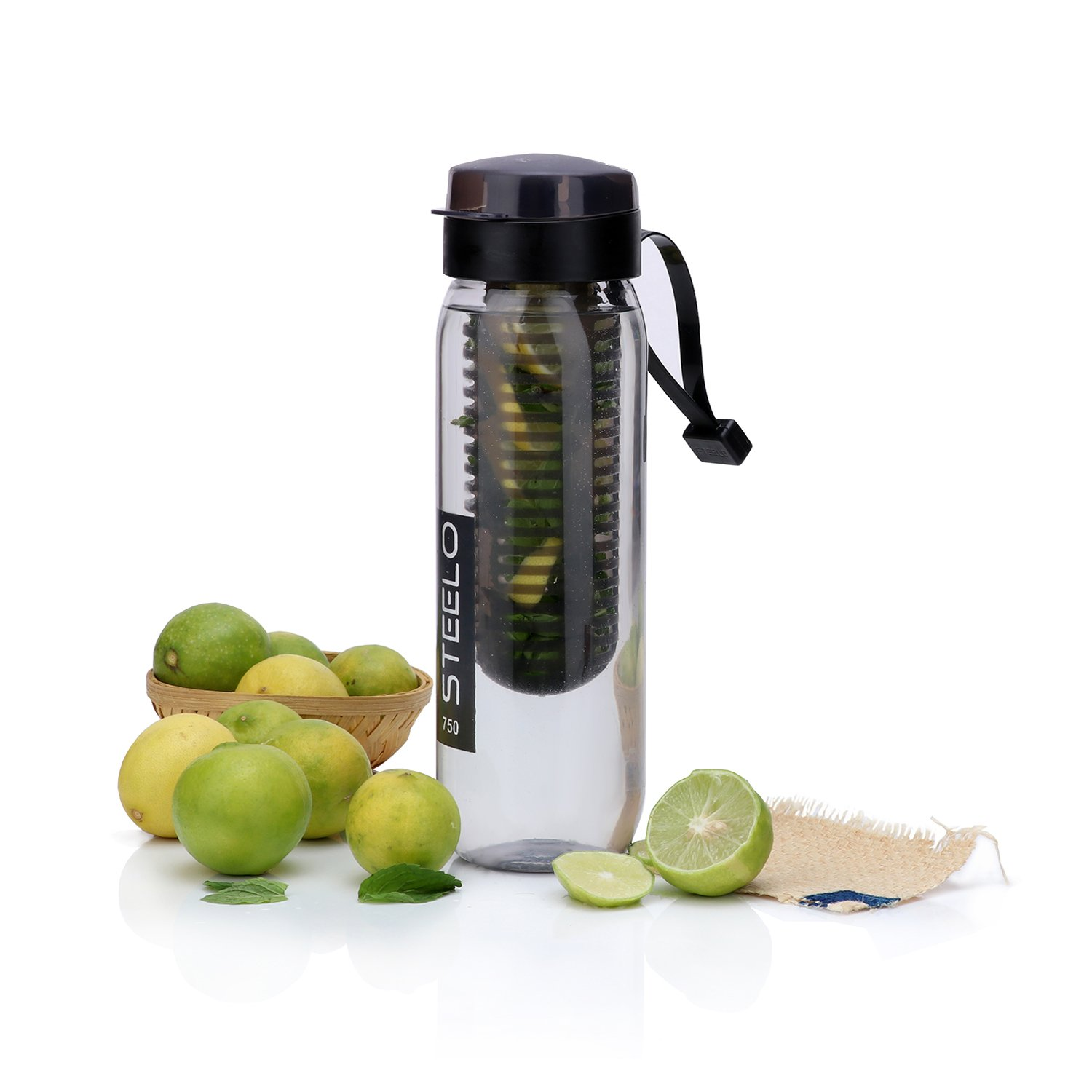 Steelo Plastic Fruit Infuser Bottle, 700ml, Black
