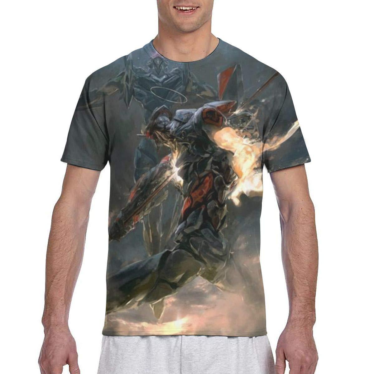 SHANGQINGYUN Evangelion-EVA Anime Mens Two Side Print Polyester Short Sleeve T Shirt