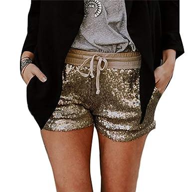 6d0e9791856b Shorts Damen Elegante Glitzer Pailletten Elastische Taille Mit Kordelzug  Hot Pants Fashion Mädchen Schöne Slim Fit