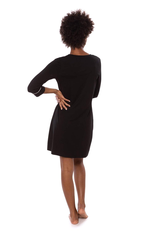Women s Sleep Shirt 3 4 Sleeve - Classic Nightshirt for Her by Texere  (Zizz) at Amazon Women s Clothing store  b695c90b9