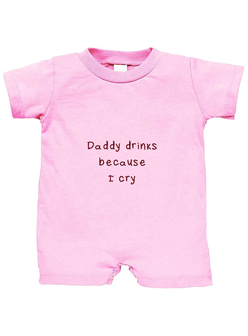 Speedy Pros Daddy Drinks Because I Cry 100% Cotton Infant Baby Jersey Tee T-Romper Soft Pink 6 Months RPFUN0104_SP6M