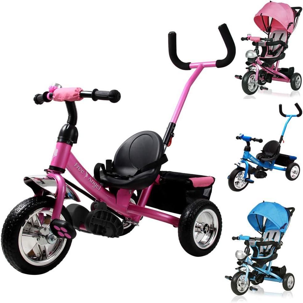 Deuba Tricilo evolutivo para niños Rosa con barra de empuje extraíble cinturon de seguridad y cesta de transporte infantil