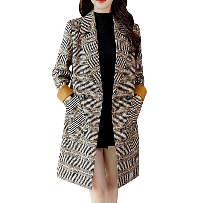 Super süße schön Design Waren des täglichen Bedarfs FIRSS Damen Kariertes Mantel Lange Trenchcoat Schlank Winterjacke Revers  Steppmantel Slim Fit Mode Taschen Casual Langarm Fleecejacken