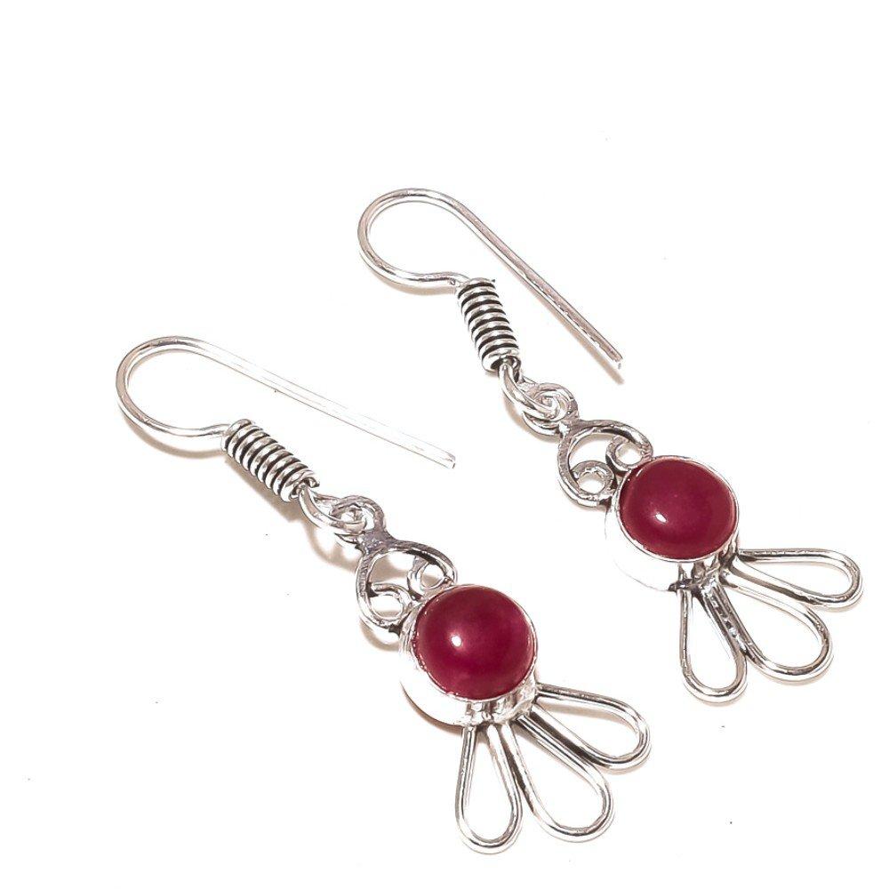 Designer Red Dyed Ruby Sterling Silver Overlay 5 Grams Earring 1.75 Long