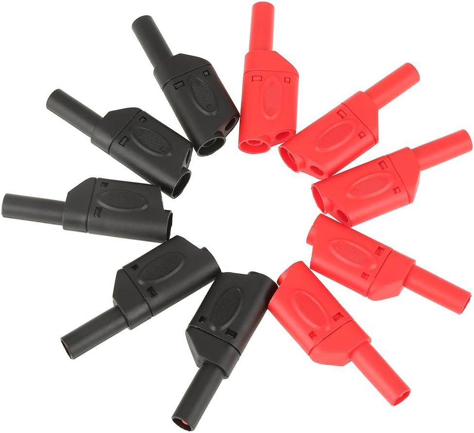 Sicherheit Vollisolierte stapelbare Steckverbinder 10Pcs 4mm Rot//Schwarz Hancend Bananenstecker