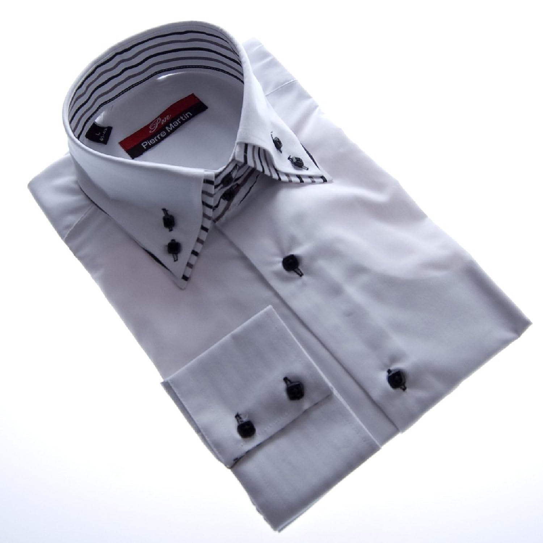Herren Designer Hemd Langarm tailliert klassischer 2 Kragen 2 ...