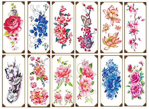 Nutrition Bizz Temporary Tattoos for Women Kids Teen Arm Tattoo Fake Tattoo Lotus Cherry Blossoms Biker Tattoo Waterproof Stickers Beach Arms Shoulders Chest & Back (Pack of 12) - 12 Temporary Kids Tattoos