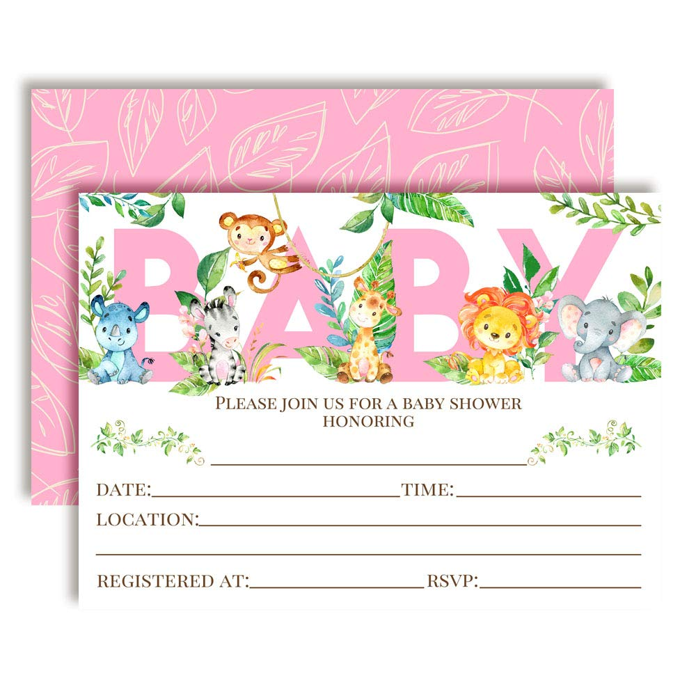 Watercolor Jungle Animals Baby Girl Sprinkle Baby Shower Invitations, 20 5''x7'' Fill in Cards with Twenty White Envelopes by AmandaCreation