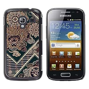 MOBMART Carcasa Funda Case Cover Armor Shell PARA Samsung Galaxy Ace 2 - Triangular Green Pattern Of Fire