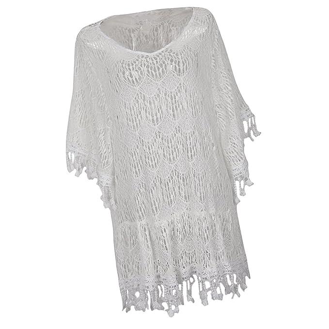D DOLITY Bikini Mujer Boho Blancas Borlas para Mujer Chica Etiqueatado Gran Tamaño Fiesta Nocturna Playera