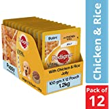 Pedigree Puppy Wet Dog Food, Chicken and Rice, 100 g (Pack of 12)