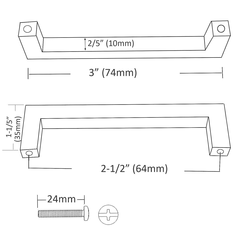50 mm, 64 mm, 76 mm, 96 mm, 128 mm, 160 mm, 192 mm, 224 mm, 256 mm Probrico 20 pcs Noir Meuble de cuisine Poign/ées de porte